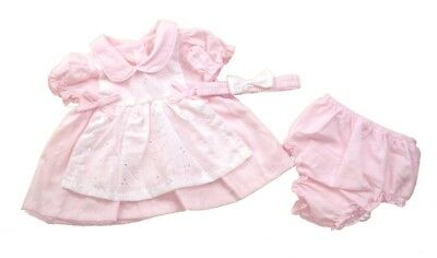 Baby Girl Pink Broderie Anglaise Dress Traditional Spanish Outfit Pants Headband