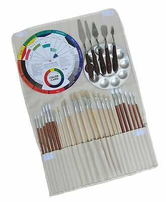 Artist Oil & Acrylics Painting Kit 32Pcs, (24Pcs Brushes, 1Pc Rollup Bag, 1Pc...