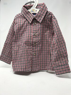 Good Lad Button Front Shirt Black Red Plaid Top Baby Boy top 24 Months