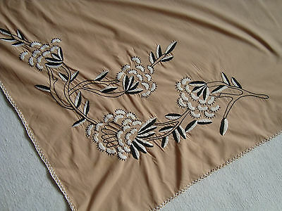 Vintage Beautiful hand- embroidered beige Big Tablecloth №34