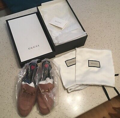 89eb596a90e GUCCI PRINCETOWN MULE Loafer Light Pink Leather Gold Hardware Women ...