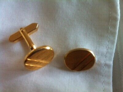 CUFFLINKS GOLD TONE OVAL MODERNIST FRENCH CUFFS CUT INSETS VINTAGE 60/70's MOD