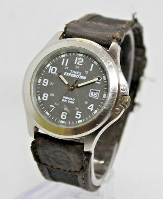 023ca4984 Timex Men's T40091 Expedition Metal Field Brown Leather Strap Watch  Stainless St