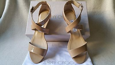 27b5b5deba4e New Jimmy Choo Chiara 36.5 Nude Patent leather Cross Strappy Wedge Sandal  heel