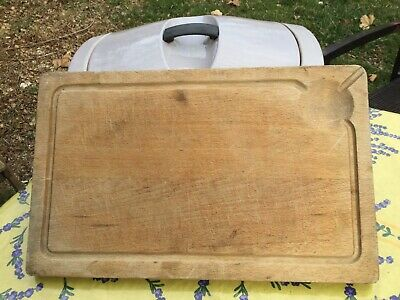 VINTAGE FRENCH Meat Or BREAD CHOPPING CUTTING BOARD WOOD France Juice Well