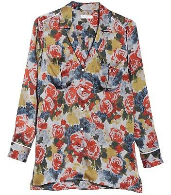 EQUIPMENT Sonny Silk PJ Top Shirt in Rouge Multi Floral Print Size Small S df936f0a6
