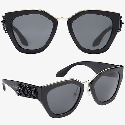 0fee34654e PRADA Ornate Beaded Irregular Sunglasses in Black SPR 10T — MSRP  860