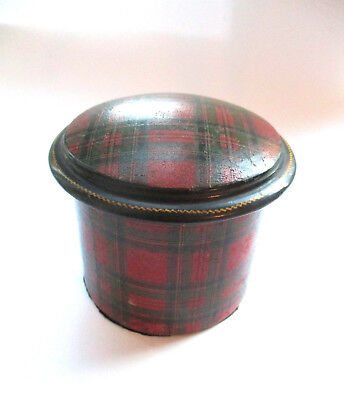 Antique Stuart Tartan Ware (Mauchline Ware) Cylindrical Box, marked Stuart