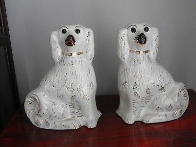 """Vintage Antique 12"""" Staffordshire Set /2 Dogs Statues Glass Eyes White Gold Gilt"""