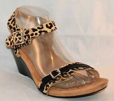 fa165dd7d15 VIONIC Women s NOBLE LAURIE Leather Calf Hair Wedge Sandals Leopard Tan 10