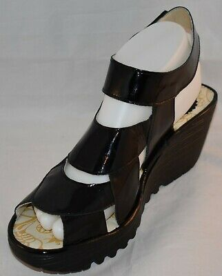5816e8a83be72 NEW Fly London Women's Wedge Sandals Shoes Yair Black Patent Leather SIZE 41