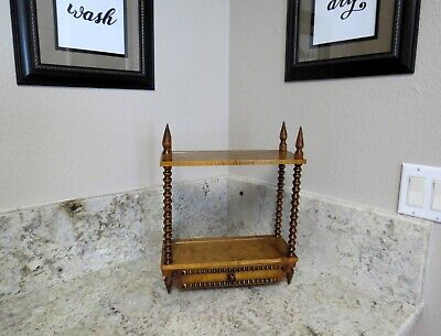 """Vintage Hand Turned Spindle 15"""" Tall WOOD CURIO Display CABINET, 2 Shelf, Drawer"""