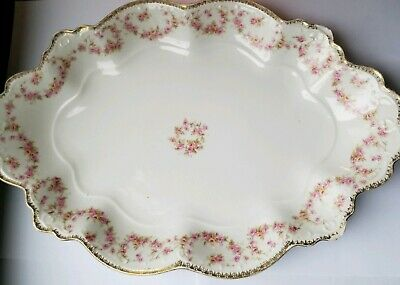 Moritz Zdekauer M.Z. Austria Rare China Serving Platter Bridal Rose Pink Pattern