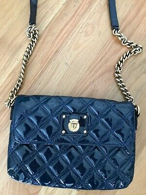 0bb0bcf5eb69 MARC JACOBS QUILTED Single Navy Blue Leather Shoulder Bag CROSSBODY ...