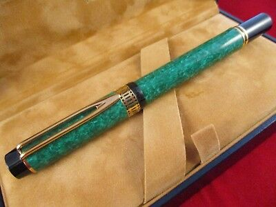 "WATERMAN ""Ideal"" Le Man 100 Patrician Green Fountain Pen18k gold F nib France"