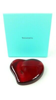 fee57997d9a Tiffany Co Elsa Peretti Signed Heart Paperweight in Red Crystal Glass