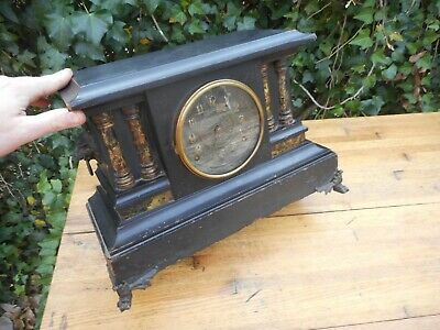 Antique E.N. Welch Wood Shelf / Mantle Victorian Clock 1800's