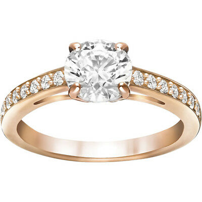 Attract Round Ring, White, Rose Gold Plating By Swarovski 5184208