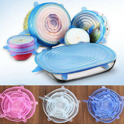 6Pcs Universal Food Grade Silicone Insta Lids Suction Lid-bowl Cover Stretch Kit