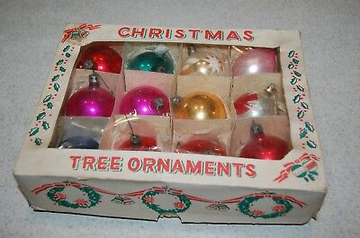 12 Vintage Glass Poland SANTA Christmas Tree Ornaments Round  Glitter w Box