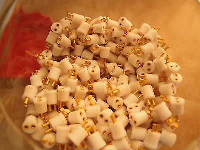 25 Ea 2 PIN TEFLON LAMP-LED-DIODE SOCKET GOLD PLATED PINS