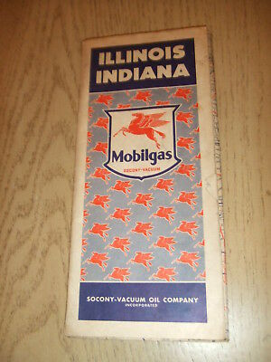 VTG 1942 Socony Mobil Oil Gas Illinois Indiana State Highway Road Map Chicago IL