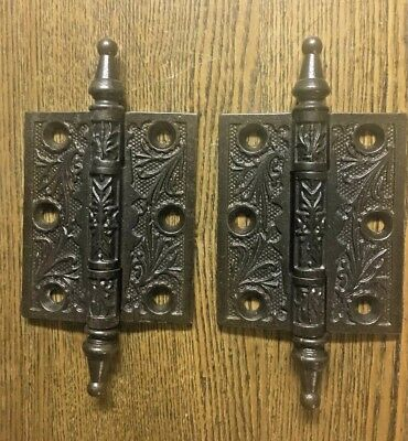 "Pair Antique Aesthetic Victorian Steeple Tip Hinges 3"" x 2 1/2"" c1890 Restored"