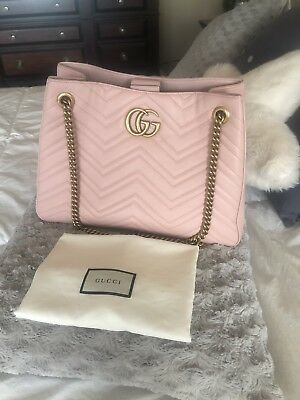 b3480931eb8 NWOT GUCCI GG Marmont Medium Matelasse Shoulder Bag Pink Authentic ...