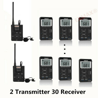 Long Distance Wireless Tour Guide System 2 Transmitter 30 FM Radio Receivers