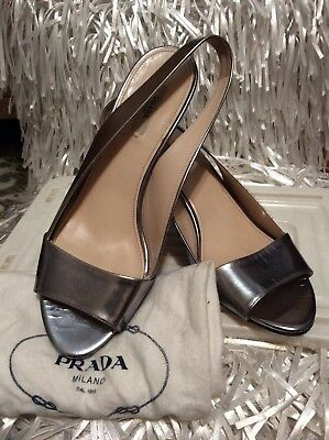 44e581c9bb5 Prada Slingback Open Toe Shoes Silver Size 39 Fabulous