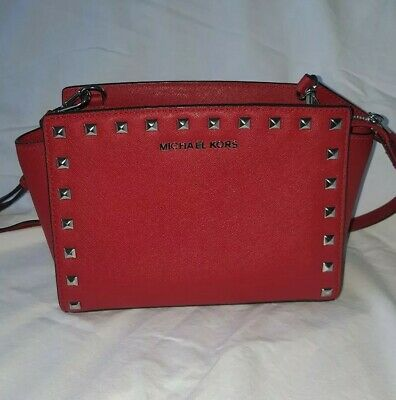 d5bbddfa0b9f ❤Michael Kors Selma Studded Saffiano Medium Messenger Bag Red Silver  Hardware ❤