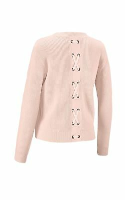 6497077fb0 NWT CABI Lace-Up Sweater  3157 Cable Knit Oyster Ivory Size M ...