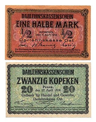 Kowno 1/2 Mark 1918 And Posen 20 Kopeken 1916 Banknotes Paper Moneys Ww1 !