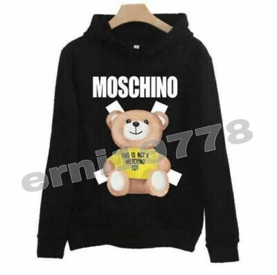 2019 HOT Unisex NEW MEN'S Moschino yellow teddy bear Hoodie Sweater Women's Coat