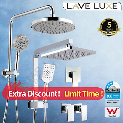 "WELS Round / Square 8"" Shower Head Set W/ Taps/ Mixer Brass Rail Chrome"