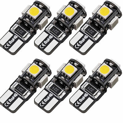 6X White T10 Led Canbus Error Free 5 SMD Car Side Wedge light Bulb 168 194 W5W