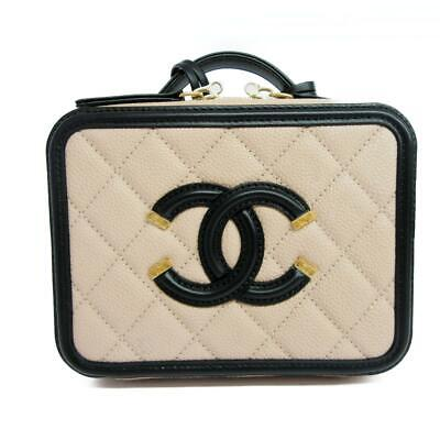 5efa30e5b95f CHANEL Quilted Small CC Filigree Vanity Case Handbag Beige Black Caviar  Leather