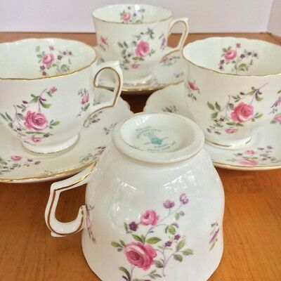 Crown Staffordshire Fine Bone China Rose Tea Cup & Saucer Set Made In England