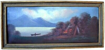 Antique American Oil Painting Hudson River School  Indian Encampment 19thC