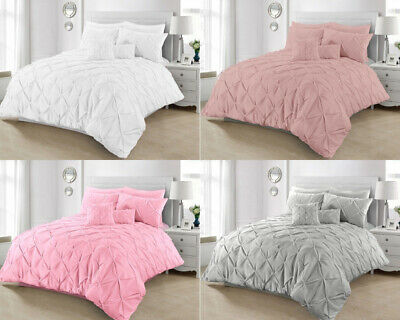 Pintuck Bedding Duvet Set Quilt Bed Covers 100% Cotton Percale Double Super King