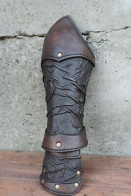Medieval Pair Of leather bracers, larp gladiator armor for Spartacus cosplay
