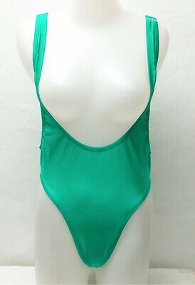 New Shiny Green Suspender Leotard / Bodysuit for Women size Medium