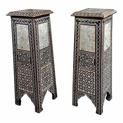 """Syrian Pair of Vintage """"Tower Shaped"""" Petite Inlaid Stands"""