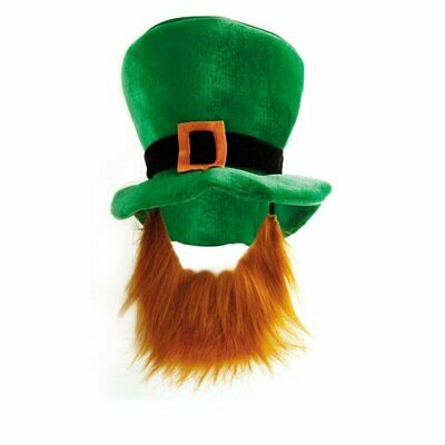 Irish St Patricks Day Hat With Beard Novelty Plush Carnival Fancy Dress Costume