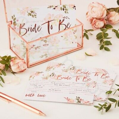 Advice For The Bride Cards Rose Gold Hen Party Games Team Bride To Be - Pk 10