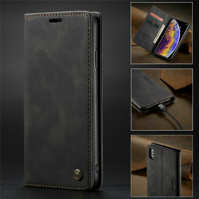 Leather Flip Case Cover For iPhone XS Max XR X Samsung S10 E Plus Huawei P30 Pro