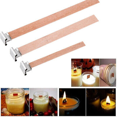 10/20Pcs Wooden Wick Candle Core & Sustainer Tabs For Candle Making 5 Size New