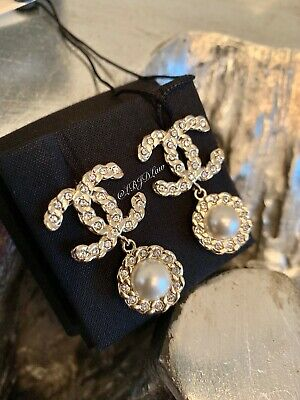 adc3e7e65 NWT CHANEL Pearls Coronation Earrings CC Gold CRYSTAL Pearl Drop STUDS 2019  NEW