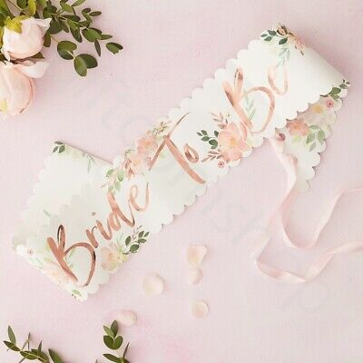 Floral Team Bride to Be Sash Rose Gold Hen Do Party Accessories Girls Night Out