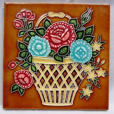 Vintage Tile Majolica Japan Saji Flower Pot Design Architectural Collectibles